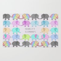 equality Area & Throw Rugs featuring Equality Elephants by Jessica Latham