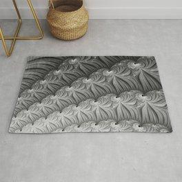 Grey Ruffles - Fractal Art  Rug