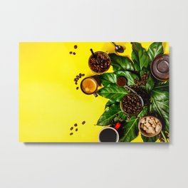 Border of various coffee on yellow background Metal Print