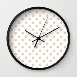 Small Polka Dots - Pastel Brown on White Wall Clock