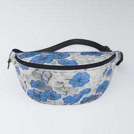 black white blue splash flowers Fanny Pack