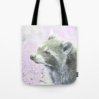 racoon Tote Bags featuring sketched racoon by MehrFarbeimLeben