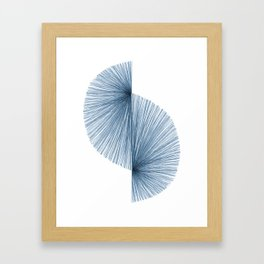 Mid Century Style Modern Geometric Abstract in Indigo Blue Framed Art Print