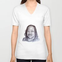 penis V-neck T-shirts featuring Ron Jeremy penis style by Florian Proust