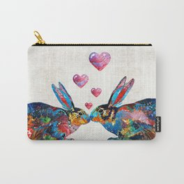 Bunny Rabbit Art - Hopped Up On Love - By Sharon Cummings Carry-All Pouch