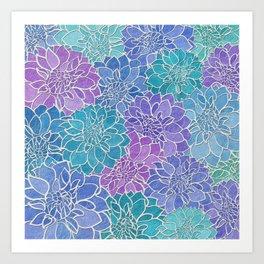 Dahlia Flower Pattern 6 Art Print