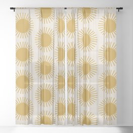 Golden Sun Pattern Sheer Curtain