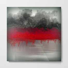 Red Garden on the Lake Impressionism Metal Print