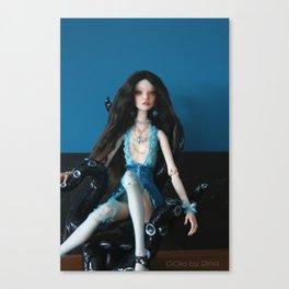 OOla in blue lingerie Canvas Print