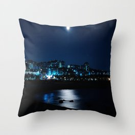 Wolf Moon Rising Over Blue Waters Throw Pillow