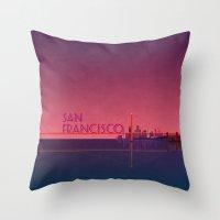 san francisco Throw Pillows featuring San Francisco by WyattDesign