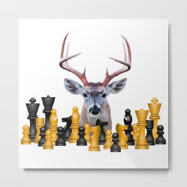 Reindeer Moose - Chess Game #chess #society6 Metal Print