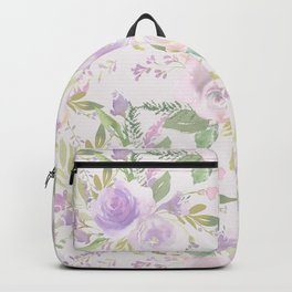 Blush lavender green watercolor hand painted floral Backpack
