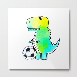 Cute Dinosaur Loves Soccer Watercolor  Metal Print