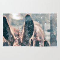donkey Area & Throw Rugs featuring Snowing Donkey by Serena Jones Photography