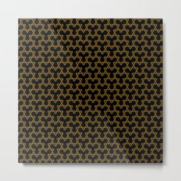 Brown Triangles on Black Metal Print