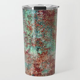 Abstract Rust on Turquoise Painting Travel Mug