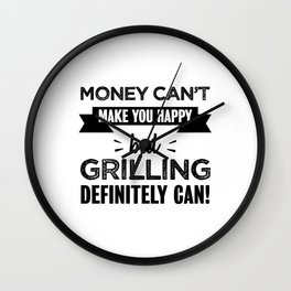 Grilling makes you happy Funny Gift Wall Clock