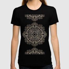 Mandala White Gold on Dark Gray T-shirt