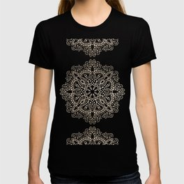 Mandala White Gold on Dark Gray T-shirt