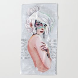 silver hair girl waiting Beach Towel