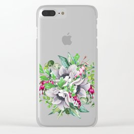 Gentille watercolor handpainted clipart, floral, flower, design, stylish, wedding, invitation Clear iPhone Case