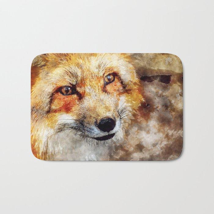 Fox animal nature wild forest-  watercolor illustration Bath Mat