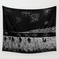 fireworks Wall Tapestries featuring Fireworks by Mr.Willow