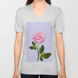 SINGLE PINK ROSE FOR LOVE Unisex V-Neck