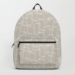 Beige / Light Warm Gray Retro Geometric Pattern Backpack