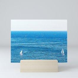 Sailing boats in the Mediterranean sea Mini Art Print