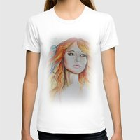 jennifer lawrence T-shirts featuring Jennifer Lawrence Watercolor  by Halinka H