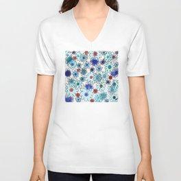 Fleur bleue Unisex V-Neck