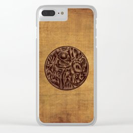 Abstract Wood Carving Pattern Clear iPhone Case