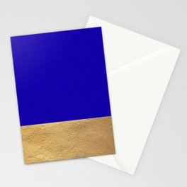 Color Blocked Gold & Cerulean Stationery Cards