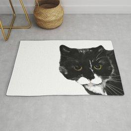 Curious Black Cat on White Background  #decor #society6 #buyart Rug