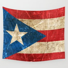 Vintage Aged and Scratched Puerto Rican Flag Wall Tapestry