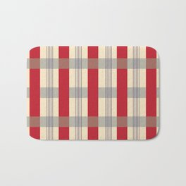Red Striped Plaid Bath Mat