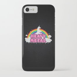 HEAVY METAL! (Funny Unicorn / Rainbow Mosh Parody Design) iPhone Case