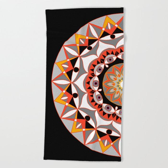 My Solar Plexus Mandhala   Secret Geometry   Energy Symbols Beach Towel