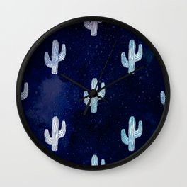 Cactus bloom - midnight blue Wall Clock