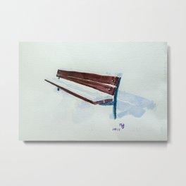 Snow resting on bench I Metal Print