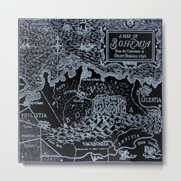 Map of Bohemia (black & white) Metal Print