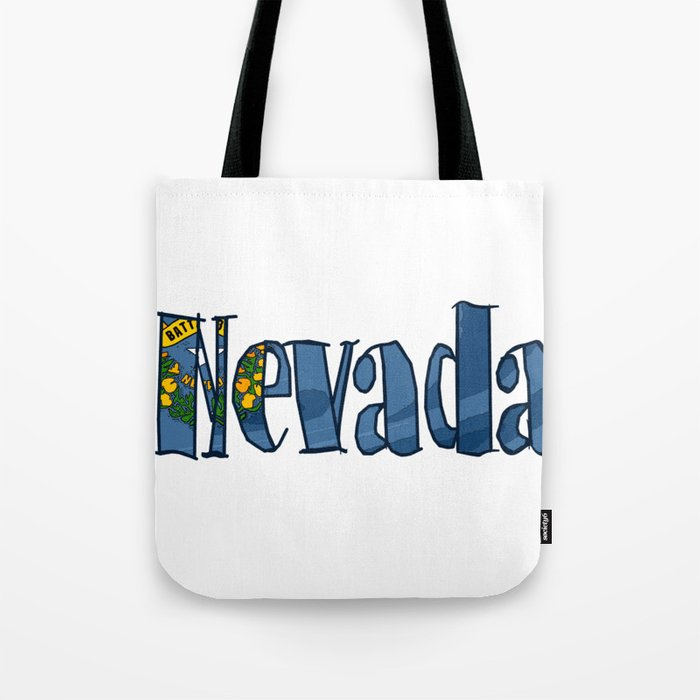Nevada Font with Nevadan Flag Tote Bag