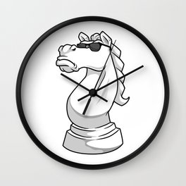 Knight Chess piece at Chess with Sunglasses Wall Clock