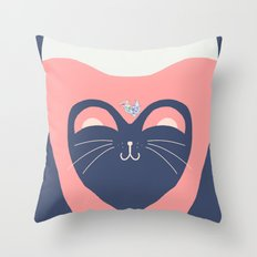 Kitty Pink Throw Pillow
