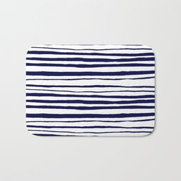 Blue- White- Stripe - Stripes - Marine - Maritime - Navy - Sea - Beach - Summer - Sailor 3 Bath Mat