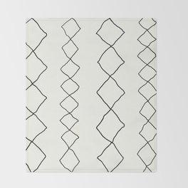 Moroccan Diamond Stripe in Black and White Throw Blanket