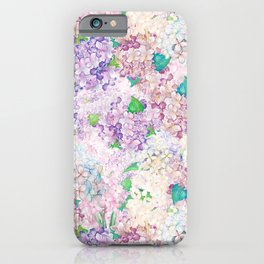 Pastel Purple and blue Lilac & Hydrangea - Flower Design iPhone Case