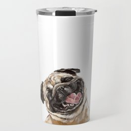 Happy Laughing Pug Travel Mug
